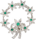 Estate Jewelry:Brooches - Pins, Diamond, Emerald, Platinum Pendant-Brooch. ...
