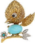 Estate Jewelry:Brooches - Pins, Diamond, Sapphire, Turquoise, Gold Brooch. ...