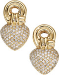 Estate Jewelry:Earrings, Diamond, Gold Earrings. ...