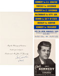 Political:Small Paper (1896-present), John F. Kennedy: 1946 Congressional Palm Card and More....