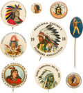 Advertising:Pocket Mirrors & Pinbacks, Native Americans: Outstanding Collection of Nine Early Cel...