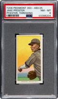 Baseball Cards:Singles (Pre-1930), 1909-11 T206 Piedmont 350-460/25 Jake Pfiester (Throwing) PSA NM-MT 8 - Pop Four, None Higher!. ...