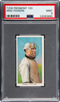 Baseball Cards:Singles (Pre-1930), 1909-11 T206 Piedmont 150 Mike Powers PSA Mint 9 - Pop One, None Higher! ...