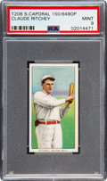 Baseball Cards:Singles (Pre-1930), 1909-11 T206 Sweet Caporal 150/649 Overprint Claude Ritchey PSA Mint 9 - Pop One, None Higher! ...
