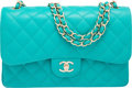"""Luxury Accessories:Bags, Chanel Turquoise Quilted Caviar Leather Jumbo Classic Double Flap Bag with Light Gold Hardware. Condition: 1. 12"""" Widt..."""