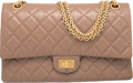 """Luxury Accessories:Bags, Chanel Taupe Quilted Calfskin Leather Reissue 226 Double Flap Bag with Gold Hardware. Condition: 2. 11"""" Width x 7"""" Hei..."""