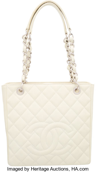 4a9b4ee5c68e Chanel Off White Quilted Caviar Leather Petite Shopping Tote