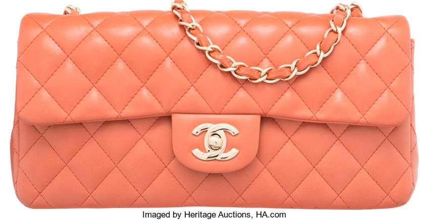 f31841fe2d21 Chanel Coral Quilted Lambskin Leather East West Flap Bag with