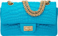 "Luxury Accessories:Bags, Chanel Turquoise Satin Embroidered Mini Reissue 224 Double Flap Bagwith Antiqued Gold Hardware. Condition: 3. 8"" Widt..."