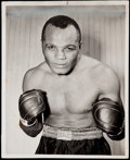 Boxing Collectibles:Memorabilia, 1940's Jersey Joe Walcott Vintage Photo and Promo Pair (2). ... (Total: 2 items)