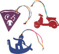 """Luxury Accessories:Accessories, Hermes Set of Three; Hermes Petit H Vespa, Pizza, and Gondola Charms. Condition: 1. Vespa: 4.25"""" Width x 2.5"""" Height... (Total: 3 )"""