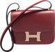 Hermes Limited Edition 18cm Rouge H Calf Box Leather & Ficelle Lizard Double Gusset Marquette Constance Bag with...