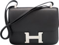 """Luxury Accessories:Bags, Hermes 23cm Black Swift Leather Constance Bag with Palladium Hardware. O Square, 2011. Condition: 3. 9"""" Width x 7""""..."""
