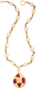 """Luxury Accessories:Accessories, Chanel Red Gripoix and Faux Pearls Gold Necklace. Condition: 4. 25"""" Length End to End. 1.75"""" Width x 2"""" Height Pen..."""