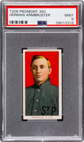 Baseball Cards:Singles (Pre-1930), 1909-11 T206 Piedmont 350 Herman Armbruster PSA Mint 9 - Pop One,None Higher!. ...