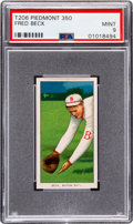 Baseball Cards:Singles (Pre-1930), 1909-11 T206 Piedmont 350 Fred Beck PSA Mint 9 - Pop One, None Higher! ...