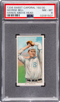 Baseball Cards:Singles (Pre-1930), 1909-11 T206 Sweet Caporal 150/30 George Bell (Hands Above Head) PSA NM-MT 8 - Pop Six, None Higher! ...