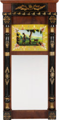 Antiques:Decorative Americana, Stunning Circa 1830s Mirror with Archaic Reverse Glass Image of aNative American. ...