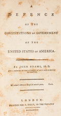 Books:Americana & American History, John Adams. A Defence of the Constitutions of Government of the United States of America. London: Printed for C. Dil... (Total: 2 Items)