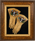 American Indian Art:Beadwork and Quillwork, Beaded Hide Gauntlets: An Outstanding Pair with Patriotic Motifs....