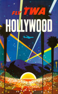 "Movie Posters:Miscellaneous, TWA Hollywood (Early 1960s). David Klein Full-Bleed Travel Poster(25"" X 40"").. ..."