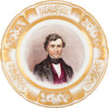 Political:3D & Other Display (pre-1896), Franklin Pierce: Stunning Porcelain Plate with Hand-painted Portrait....