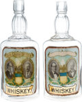 Political:3D & Other Display (1896-present), McKinley & Roosevelt and Bryan & Stevenson: Awesome Matched Pair of Large Whiskey Bottles with Colorful Jugate Labels under Gl... (Total: 2 Items)