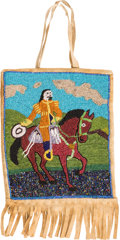 """American Indian Art:Beadwork and Quillwork, William F. """"Buffalo Bill"""" Cody: Most Unusual Beaded Hide Bag Showing Him on Horseback. ..."""