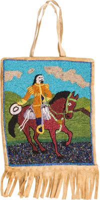 "William F. ""Buffalo Bill"" Cody: Most Unusual Beaded Hide Bag Showing Him on Horseback"