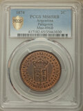 Argentina, Argentina: Patagonia. New France bronze Pattern 2 Centavos 1874MS65 Red and Brown PCGS,...
