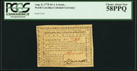 North Carolina August 8, 1778 $4 A Lesson to Arbitrary Kings and Wicked Ministers PCGS Choice About New 58PPQ
