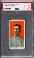 Baseball Cards:Singles (Pre-1930), 1909-11 T206 Piedmont 350 Charley Carr PSA NM-MT 8 - Pop Three, None Higher! ...