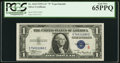 """Small Size:Silver Certificates, Fr. 1610 $1 1935A """"S"""" Silver Certificate. PCGS Gem New 65PPQ.. ..."""