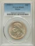 Commemorative Silver, 1935-S 50C Boone MS65 PCGS. PCGS Population: (439/273). NGC Census:(392/210). CDN: $155 Whsle. Bid for problem-free NGC/PC...