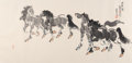 Asian:Chinese, Various Chinese Artists (20th Century). Six Paintings. Ink,color, and goauche on paper. 139 inches high x 37-1/2 inches...(Total: 6 Items)