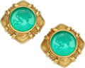 Estate Jewelry:Earrings, Chrysoprase, Gold Earrings. ...