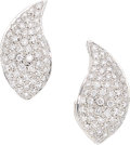 Estate Jewelry:Earrings, Diamond, White Gold Earrings  The earring feat...