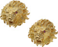 Estate Jewelry:Cufflinks, Gold Cuff Links, Kurt Wayne The lion cuff link...