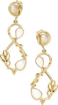 Estate Jewelry:Earrings, Moonstone, Gold Earrings, Temple St. Clair The...