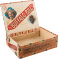 "Advertising:Paper Items, William F. ""Buffalo Bill"" Cody: Scarce Cigar Box with 3 Portraits of Cody...."