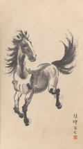 Asian:Chinese, Attributed to Xu Beihong (Chinese, 1895-1953). GallopingHorse. Ink on paper. 34 x 19-1/4 inches (86.4 x 48.9 cm)(work)...