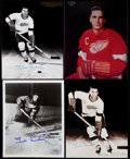 Autographs:Photos, Ted Lindsey Detroit Red Wings Signed Photograph Lot of 4.. ...
