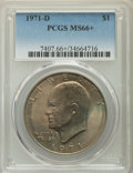 Eisenhower Dollars, 1971-D $1 MS66+ PCGS. PCGS Population: (1181/36). NGC Census: (719/51). CDN: $45 Whsle. Bid for problem-free NGC/PCGS MS66....