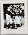 Autographs:Photos, 1972 Hank Aaron Home Run #649 Signed Wire Photograph with Jim Busby- Passes Willie Mays for #2 All-Time.. ...