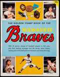 Baseball Collectibles:Publications, 1955 Golden Stamps Book of The Milwaukee Braves With 32 StampsAffixed Inside....