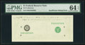 Error Notes:Missing Face Printing (<100%), Fr. ?-D $1 ? Federal Reserve Note. PMG Choice Uncirculated 64 EPQ.. ...
