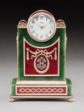 Decorative Arts, Continental:Other , A 14K Vari-Color Gold, Silver, Diamond, Guilloche Enamel, SpinachJade, and Cabochon-Mounted Clock in the Manner of Fabergé,...