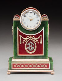 A 14K Vari-Color Gold, Silver, Diamond, Guilloche Enamel, Spinach Jade, and Cabochon-Mounted Clock in the Manner of Fabe...