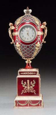 A 14K Vari-Color Gold, Silver, Diamond, Guilloche Enamel, and Cabochon-Mounted Egg Form Clock in the Manner of Faberg&ea...