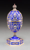 Decorative Arts, Continental:Other , A 14K Vari-Color Gold, Silver, Diamond, Guilloche Enamel, andCabochon-Mounted Egg on Stand with Bouquet Surprise in the Mann...